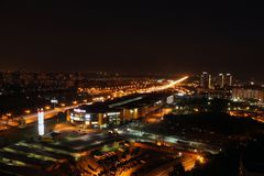 An abstract panoramic view of the city at night royalty free stock image