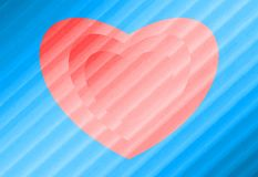 Abstract beautiful pattern. Pink heart on a blue background. Vector. stock photo