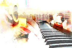 Abstract beautiful playing acoustic Guitar in the foreground on Watercolor painting. Abstract beautiful playing acoustic guitar and piano on Watercolor painting royalty free illustration