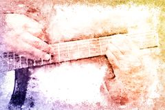 Abstract playing acoustic guitar watercolor painting background. Abstract beautiful playing Guitar in the foreground on Watercolor painting background and royalty free stock photography