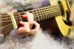 Abstract man playing acoustic guitar on watercolor painting. Abstract beautiful playing Guitar in the foreground on Watercolor painting background and Digital stock illustration