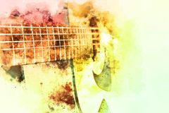 Abstract man playing acoustic guitar on watercolor painting. Abstract beautiful playing Guitar in the foreground on Watercolor painting background and Digital vector illustration