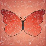 Abstract beautiful red butterfly with a flower pat Stock Photos