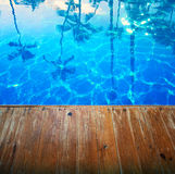 Abstract Beautiful seascape background with empty wooden pier Royalty Free Stock Photography
