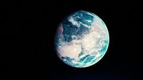 Abstract beautiful sunrise world skyline, planet Earth from space. Animation. Rotating planet Earth under the bright Sun