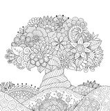 Abstract beautiful tree for design element and adult coloring book page. Vector illustration Stock Images