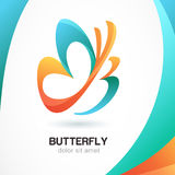 Abstract beautiful tropical butterfly symbol on colorful backgro. Und. Logo design template. Concept for beauty salon, cosmetic and spa royalty free illustration