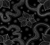 Abstract beautiful vector seamless pattern with blooming flowers and figured shapes. Endless texture. You can use any color of background Stock Image
