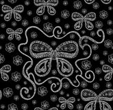 Abstract beautiful vector seamless pattern with butterflies with curling wings, flowers, figured lines Royalty Free Stock Images