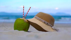 Abstract of a beautiful white sand beach - young coconut with two drinking tubes and a woman hat in front of a sea-ocean.  stock video
