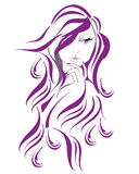 Abstract beautiful woman with flowers and butterflies in lines. Royalty Free Stock Photography