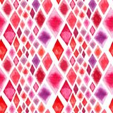 Abstract beautiful wonderful transparent bright red pink different shapes rhombuses figure pattern watercolor hand illustration. Perfect for textile Stock Photography