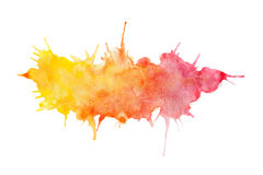 Abstract beautiful yellow / orange / pink watercolor painted background. Yellow / orange / pink watercolors abstract painted on real paper, can be used as a Royalty Free Stock Photo