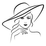 Abstract beautiful young lady portrait. In a wide brimmed hat, hand drawing vector outline Stock Illustration