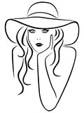 Abstract beautiful young women portrait. In a hat with wide brim, hand drawing vector outline Stock Illustration