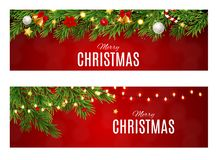 Abstract Beauty Christmas and New Year Card Collection Set Vector Illustration stock illustration