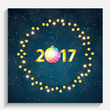 Abstract Beauty Merry Christmas and New Year Background with Mul. Ticolored Garland Lamp Bulbs Festive. Vector illustration EPS10 Stock Image