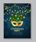 Abstract Beauty Merry Christmas and New Year Party Background. With Masquerade Carnival Mask. Vector illustration EPS10 Stock Photo