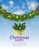 Abstract Beauty Merry Christmas and New Year Party Background. With Masquerade Carnival Mask. Vector illustration EPS10 Stock Image