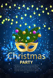 Abstract Beauty Merry Christmas and New Year Party Background. With Masquerade Carnival Mask. Vector illustration EPS10 Stock Photography