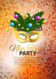 Abstract Beauty Merry Christmas and New Year Party Background. With Masquerade Carnival Mask. Vector illustration EPS10 Royalty Free Stock Photo