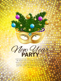 Abstract Beauty Merry Christmas and New Year Party Background. With Masquerade Carnival Mask. Vector illustration EPS10 Royalty Free Stock Photography