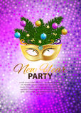 Abstract Beauty Merry Christmas and New Year Party Background. With Masquerade Carnival Mask. Vector illustration EPS10 Stock Photos