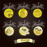 Abstract bee design. Honey and bees vector badges and labels for any use. Abstract bee design Royalty Free Stock Photo