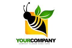 Abstract Bee Logo. An illustration of a logo representing an abstract bee with a green leaf Royalty Free Stock Image