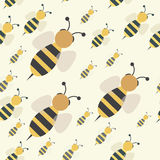 Abstract bee swarm seamless. Abstract flying honey bee swarm seamless pattern, vector background illustration royalty free illustration