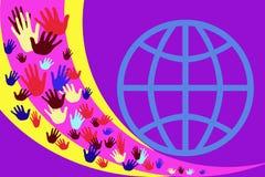 Abstract beeld met multicolored handen op een achtergrond van gele en purpere strepen stock illustratie