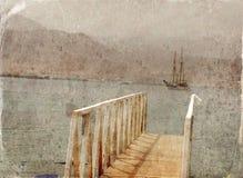 Abstract beeld van één jacht bij open zee Oude stijlfoto Royalty-vrije Stock Afbeelding