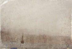 Abstract beeld van één jacht bij open zee Oude stijlfoto Royalty-vrije Stock Foto's