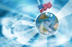 Abstract beeld van bol en Amerikaanse vlagclose-up Stock Foto