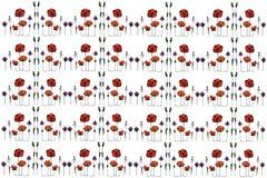 Abstract beeld van de papavers en het gras van het bloemengebied vector illustratie