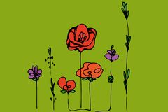 Abstract beeld van de papavers en het gras van het bloemengebied royalty-vrije illustratie