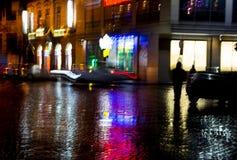 Abstract beeld van de straat van de stadsnacht Stock Afbeeldingen
