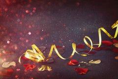 Abstract beeld van decoratie van het Kerstmis de feestelijke lint Stock Fotografie