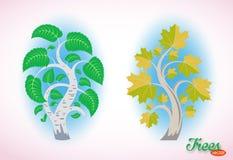 Abstract beeld van een berk en een esdoorn Fijne vectorbomen Weelderig gebladerte en gebogen takken Ge?soleerde voorwerpen op wit vector illustratie