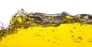 Abstract beeld van een gele gemorste vloeistof Royalty-vrije Stock Afbeeldingen