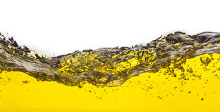 Abstract beeld van een gele gemorste vloeistof Stock Afbeelding