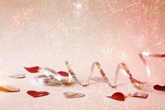 Abstract beeld van feestelijke lintdecoratie en harten Royalty-vrije Stock Foto