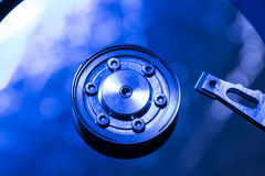 Abstract beeld van harde schijfplaat met blauwe kleur Stock Afbeeldingen