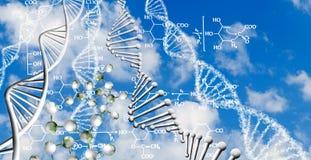 abstract beeld van ketting van DNA en chemische formules op een hemelachtergrond Stock Afbeeldingen