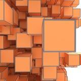 Abstract beeld van kubussenachtergrond in gestemde sinaasappel Stock Foto's