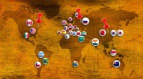 Abstract beeld van landen op kaartclose-up Stock Afbeeldingen
