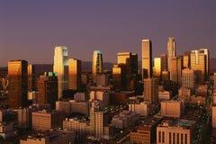 Abstract beeld van Los Angeles van de binnenstad bij zonsondergang, Californië Royalty-vrije Stock Afbeelding