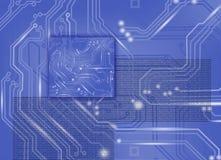 Abstract beeld van microschakeling tegen een blauwe close-up als achtergrond Royalty-vrije Stock Foto