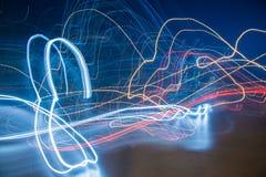 Abstract Beeld van Multi Gekleurde Lichten bij nacht Stock Foto's