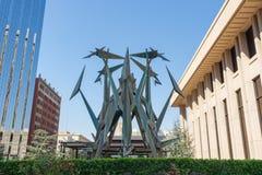 Abstract beeldhouwwerk in Oklahoma City, Oklahoma royalty-vrije stock foto